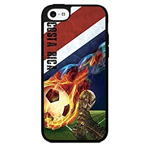 Blue, Red, and White Grunge Costa Rica Team Flag with Colorful Fiery Soccer Ball Hard Snap on Phone Case (iPhone 5c)