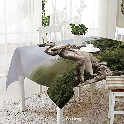 Large dustproof Waterproof Tablecloth,Family Table Decoration,Sculptures Decor,Sculptured Figure Among Greenery on The Grounds of The Achillion Palace Corfu Island,Green Beige,70 x 104 -