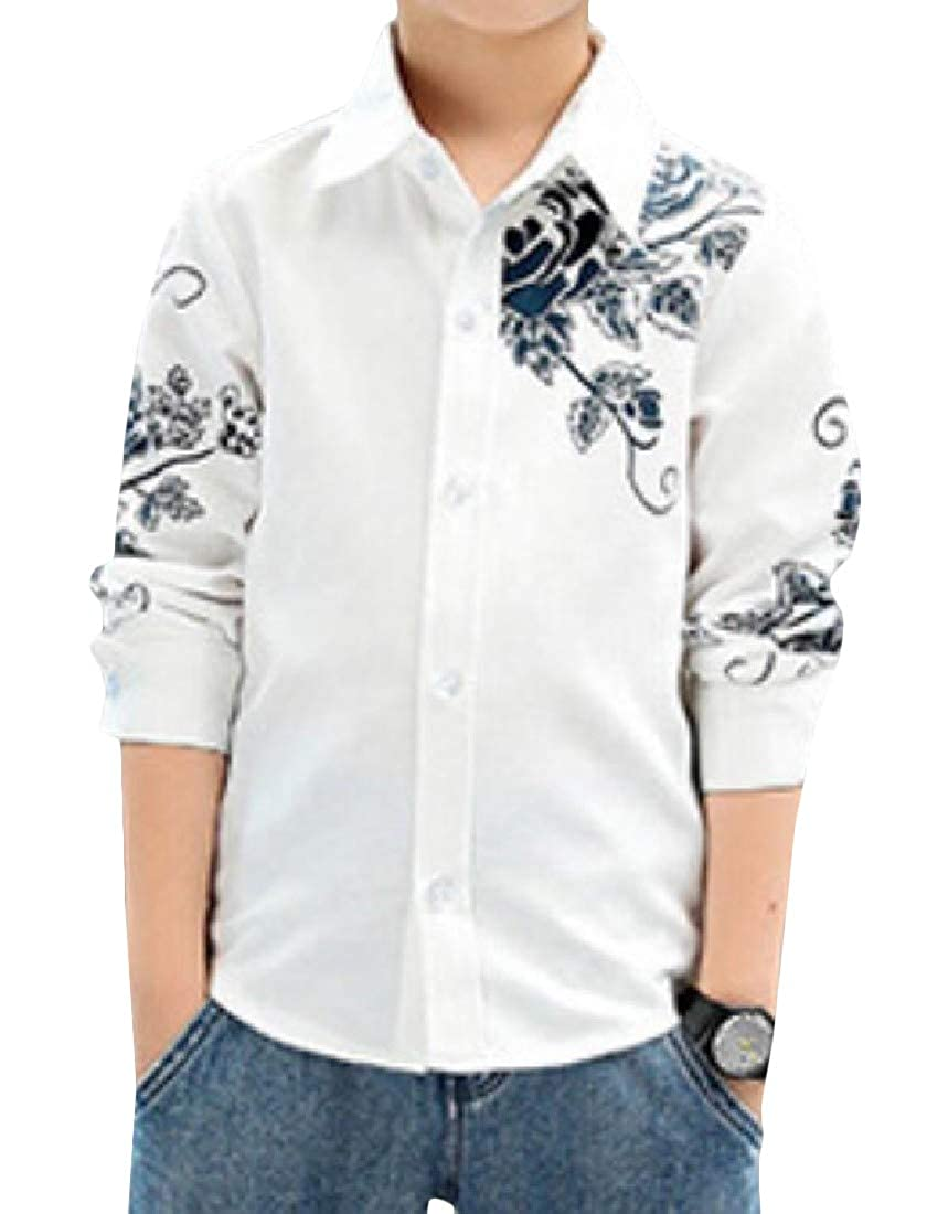 Sweatwater Boys Classic Button Down Graphic Long-Sleeve Stylish Shirts