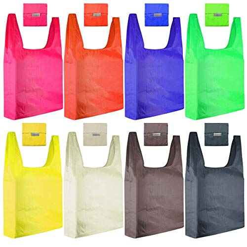 Reusable Grocery Bags, HUAYF 8 Pack Cute Design Eco Friendly Large Foldable Shopping Bags Fits in Pocket  Waterproof and Machine Washable