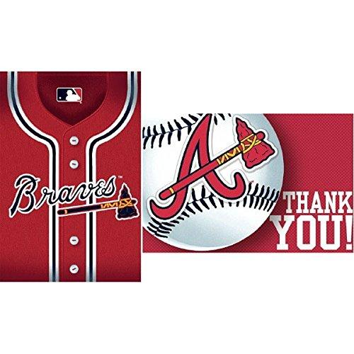 Baseball Dream Atlanta Braves Party Invitation & Thank You Card Set , Paper, 3