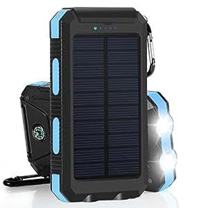 US Stock Waterproof 500000mAh 2 USB Portable Solar Battery Charger Solar Power Bank KB