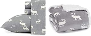 Eddie Bauer Home   100% Cotton Flannel Sheet Set, Queen, Elk Grove + Ultra Plush Reversible Sherpa Fleece Throw, Elk Stance