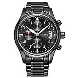 (US) SONGDU Black Quartz Mens Watch Multifunction Chronograph Date Analog Luminous Numeral Stainless Steel