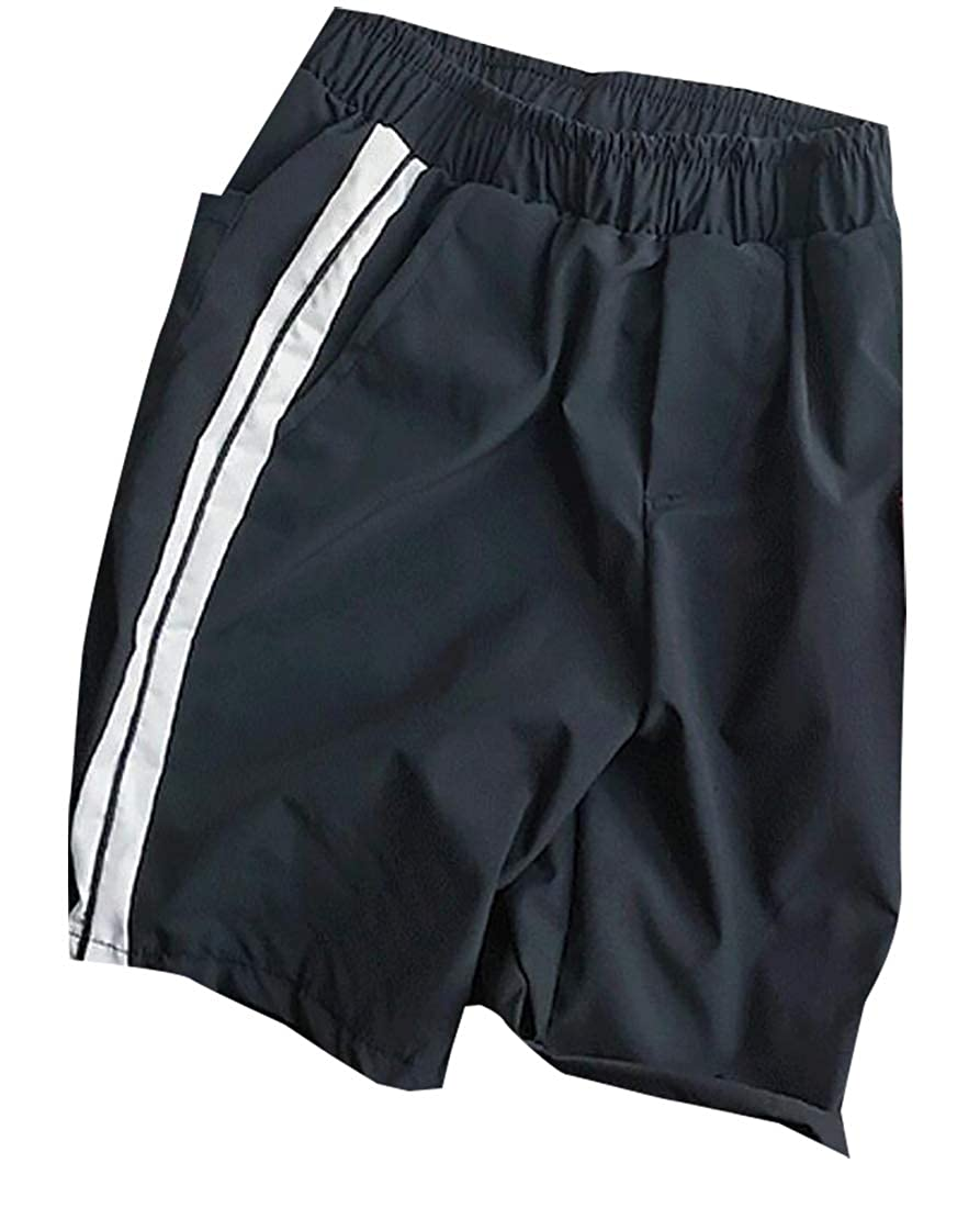 Mens Classic Fit Stripe Print High Waist Pocket Swim Board Shorts