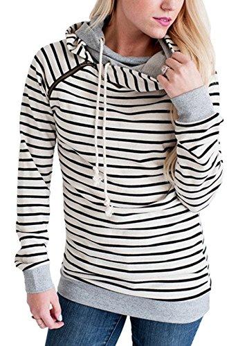 Fanshou Women Long Sleeve Striped Hoodie Side Zipper Hooded Sweatshirt Pullover M (Double Hooded Sweatshirt compare prices)