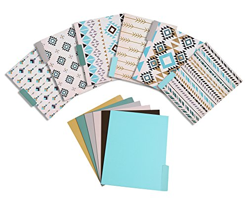 12 Pack File Folder Set – Assorted 6 Tribal Designs and 6 Solid Colors Letter Size Memory ½ Cut Top Tab File Organizers