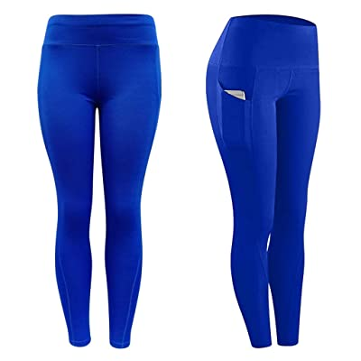 Yoga Pants for Women Tall, Out Pockets High Waisted Yoga Pants Tummy Control Workout Running Pants 4 Way Stretch Leggings at Women's Clothing store