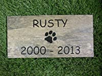 Sandblast Engraved Tile Pet Memorial Headstone Grave Marker Dog Cat npd 6in.x12in.