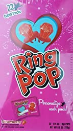 Valentines Day Ring Pop Strawberry Flavored Cupid Packs Personalize Each Pack! 22 Count