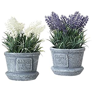 MyGift Decorative Artificial White & Purple Lavender Flower Plants in Cement Textured Planter Pots 8
