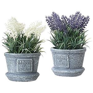 MyGift Decorative Artificial White & Purple Lavender Flower Plants in Cement Textured Planter Pots 9