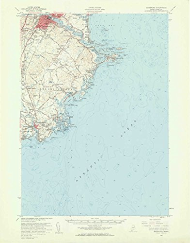 YellowMaps Biddeford ME topo map, 1:62500 Scale, 15 X 15 Minute, Historical, 1956, Updated 1960, 21 x 16.5 in - Polypropylene ()
