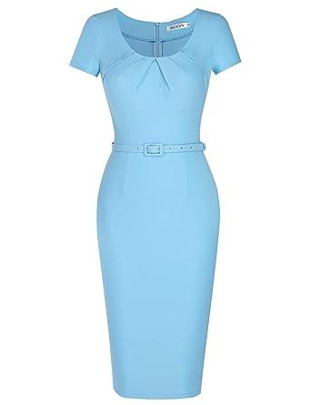 3b077002f22d MUXXN Women's Elegant Ruched Scoop Neck Sheath Bridesmaid Summer Dress  (Airy Blue ...