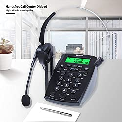 Wikoo Handsfree Call Center Dialpad, Black Corded Dialpad with Mute Function For Home & Business, Comes with Noise Cancelling Headset - Noise Cancellation (C01)