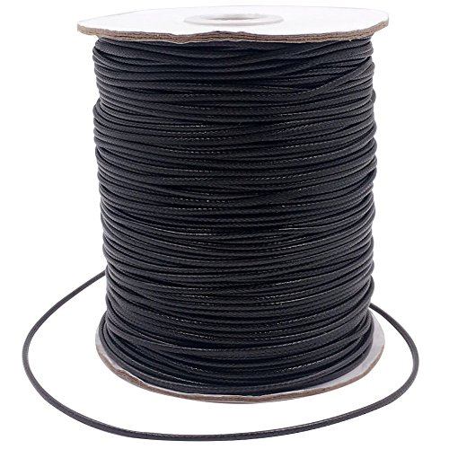 Dcatcher 1.5mm 186 Yards Jewelry Making Bracelet Beading Crafting Thread Braided Waxed Polyester Necklace Cord Rope, Black Braided Necklace Cord