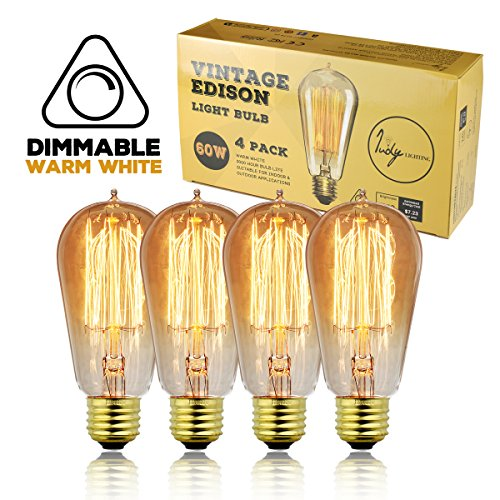 Judy Lighting - 4-Pack Vintage Edison Light Bulb Dimmable, Warm White Amber Yellow, Decorative Original Antique Style Incandescent, E26 Standard Medium Base, 60W Squirrel Cage Filament Replacement