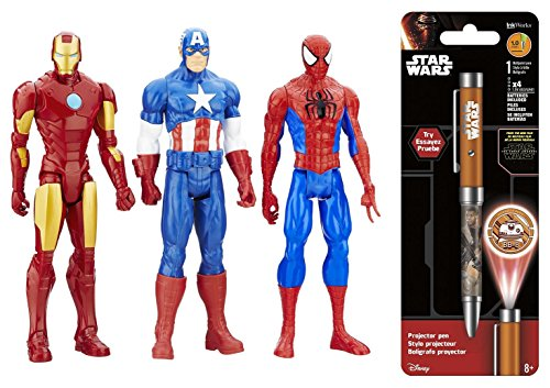 [Super Hero Captain America vs Iron Man vs Spider-Man 12 inch Titan Hero Series Action Figures Toys 3] (New Black Widow Costumes)
