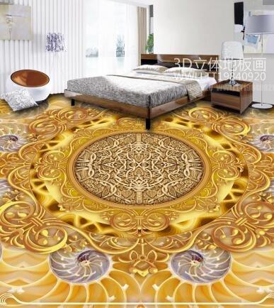 Ohcde Dheark 3D Smd 3D Stereo Wall Sticker Wallpaper Fresco Bathroom Floor Golden Luxury Jade Carving Bedroom Floor Sticker,430Cmx300Cm(169.3 By 118.1 In ) by Ohcde Dheark