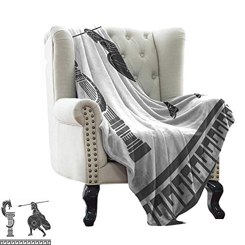 Plush Blanket Toga Party,Mythological Scene Ancient Hero and Dragon Hellenic Legend Fantasy,Grey Charcoal Grey White Cozy Hypoallergenic, Easy to Carry Blanket 60