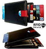 Shielded Slim Wallet RFID Blocking to Avoid Electronic theft, Front Pocket Wallet for Men & Women Genuine Leather