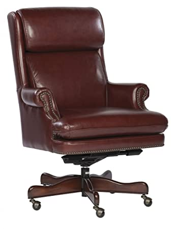 white leather office chair no arms desk staples executive brass trim color cream