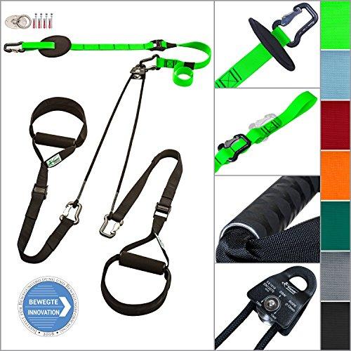 eaglefit® Sling Trainer exclusive; Umlenkrolle, Deckenbefestigung, Türanker; TESTSIEGER (grün mit ALU-Griffen)