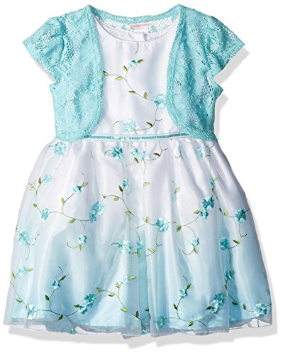 (Youngland Girls' Toddler Woven Embroidered Ombre Dress & Knit Cardigan, Aqua/White, 2)