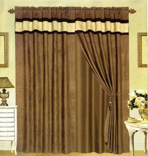 Grand Linen MODERN Black, Brown, and White Suede Patchwork Window Curtain/Drape Set with Sheer Backing 120-by-84-Inch