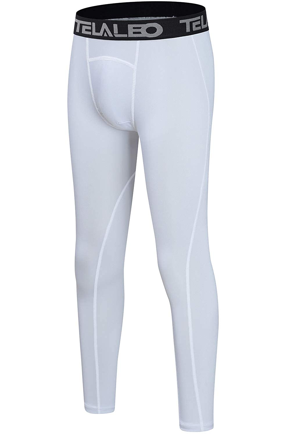 TELALEO Boys Compression Leggings Thermal Fleece Base Layer Tights Cold Gear Pants NO Fireball on Leg