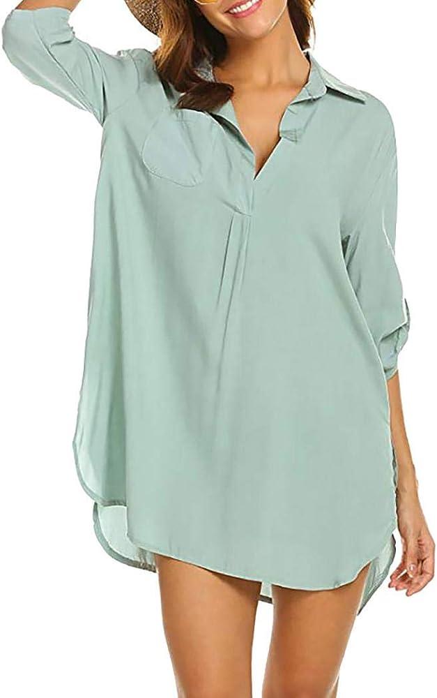 Camisa de Gasa de Playa Blusa de Manga Media Blusa Suelta de Manga Larga con protección Solar para Mujer Blusas y Camisas: Amazon.es: Ropa y accesorios