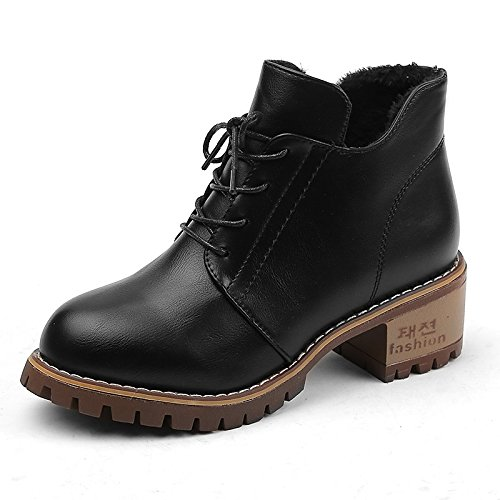 toe peep Khaki for negro de casual Botines botas invierno polipiel alto botas mujer Zapatos botines caqui de tacón HSXZ primavera moda 6FRaOO