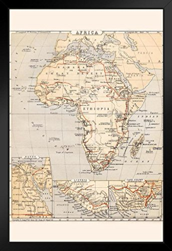 Africa 1869 Vintage Antique Style Map Framed Poster 14x20 inch