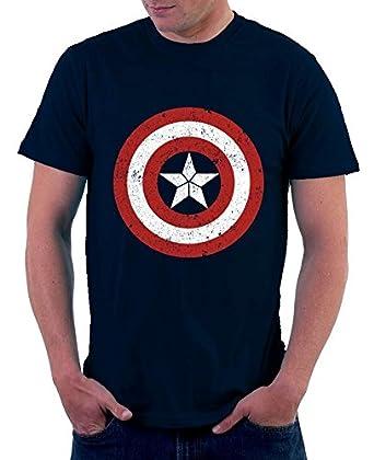 01563fb14 The Souled Store Men's Cotton Marvel Avengers: Captain America Logo Superhero  T-Shirt (