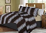 GorgeousHome African Wild Jungle Animals Bedroom Printed Quilt Bedspread Pinsonic Bed Dressing Bedding Cover 2/3pc Set in 3 Sizes Assorted (ANIMAL #2 LEOPARD, QUEEN)
