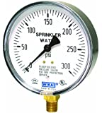 "WIKA 4233761 Commercial Sprinkler Pressure Gauge, Dry-Filled, Copper Alloy Wetted Parts, 4"" Dial, 0-300 psi Range, +/-3/2/3% Accuracy, 1/4"" Male NPT Connection, Bottom Mount"