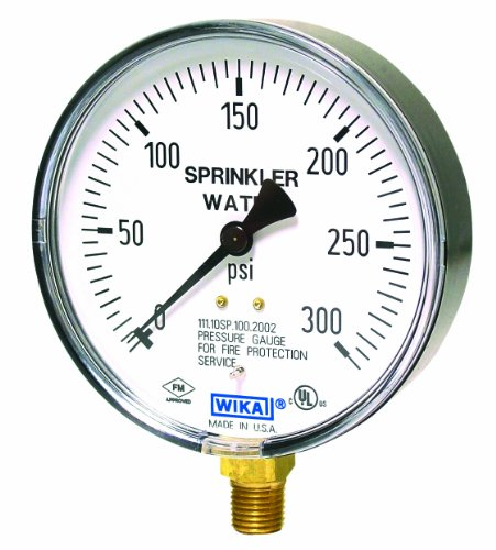 (WIKA 4233761 Commercial Sprinkler Pressure Gauge, Dry-Filled, Copper Alloy Wetted Parts, 4