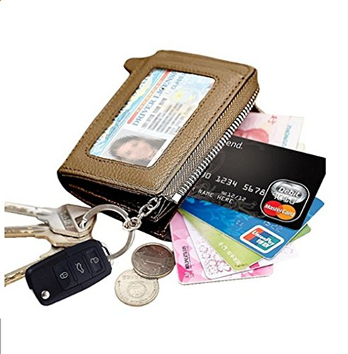 - Edmen Zipper Key Wallet Leather Credit Card Case Coins Purse with ID Window for Women Men (Gold)