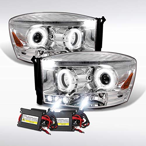 Autozensation For Dodge Ram Pickup Chrome LED Halo Projector Headlights+6000K HID Kit