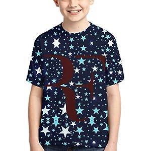 John J Littlejohn Rf-Logo Roger-Federer 1 Boy'S T-Shirts 3D Printed T-Shirt for Toddlers Kid'S Short-Sleeve Casual Tee
