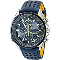 Citizen Men's Eco-Drive Blue Angels World Chronograph A-T Blue Perforated Leather Strap Watch 43mm (AT8020-03L)