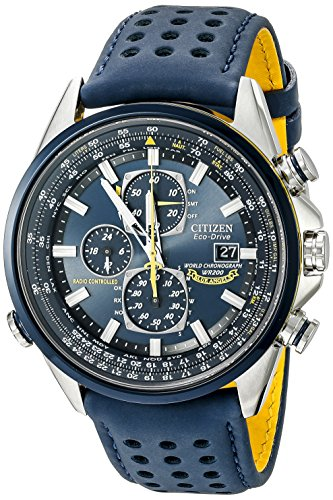 Flight Stainless Steel Watch - Citizen Men's Eco-Drive Blue Angels World Chronograph Atomic Timekeeping Watch with Day/Date, AT8020-03L