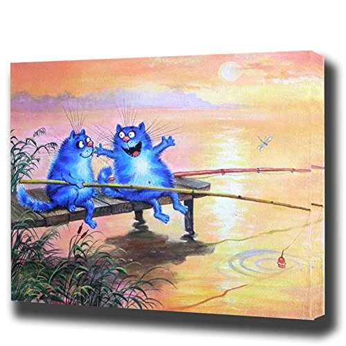BAISITE Paint by Numbers Kit 16x20 inches DIY Oil Painting with Acrylic Pigment Anniversary Gifts for Boys and Girls - Fishing Cats (Without Frame)