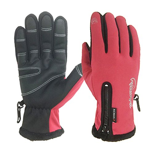 RIGWARL Winter Gloves Touch Screen Motorcycle Gloves Waterproof Cold Weather Cycling Gloves Skiing Snowboard For Men and Women (Red, Medium)