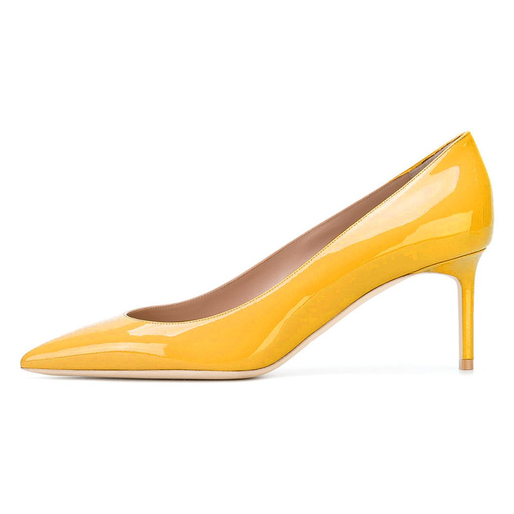 XYD Womens Elegant Patent High Heel Pumps Pointed Toe Slip On Evening Party Dress Shoes B07411HMWZ 5 B(M) US|Yellow