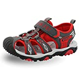 SENFI Boys Sport Sandal Summer Breathable Closed-Toe Strap Walking Shoes,BSF-red-31