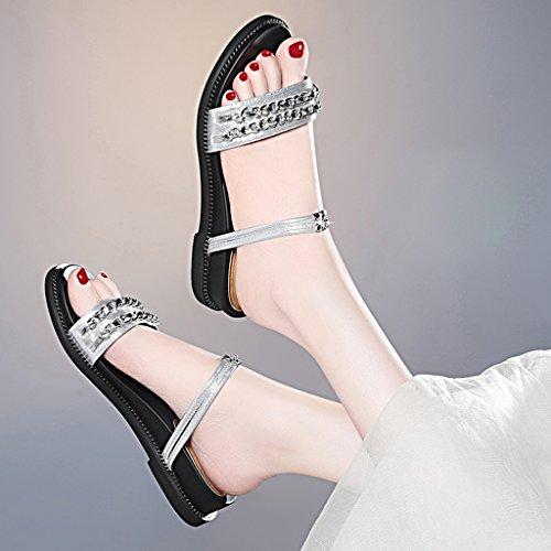 Femeninos De Tamaño Planos CN39 Punta Superior Verano Zapatos Color Zapatos Sandalias Zapatos PU Dos Estudiante Desgaste EU39 UK6 Plata Abierta La Zapatillas Bwxq8Xvf