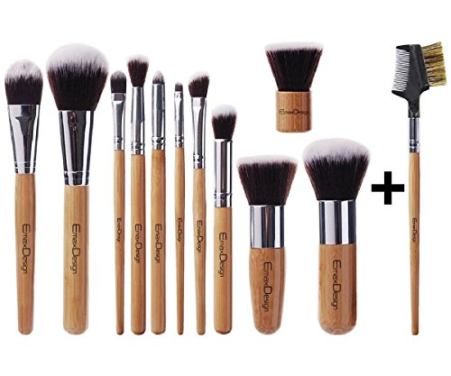 EmaxDesign 12 Pieces Makeup Brush Set Professional Bamboo Handle Premium Synthetic Kabuki...