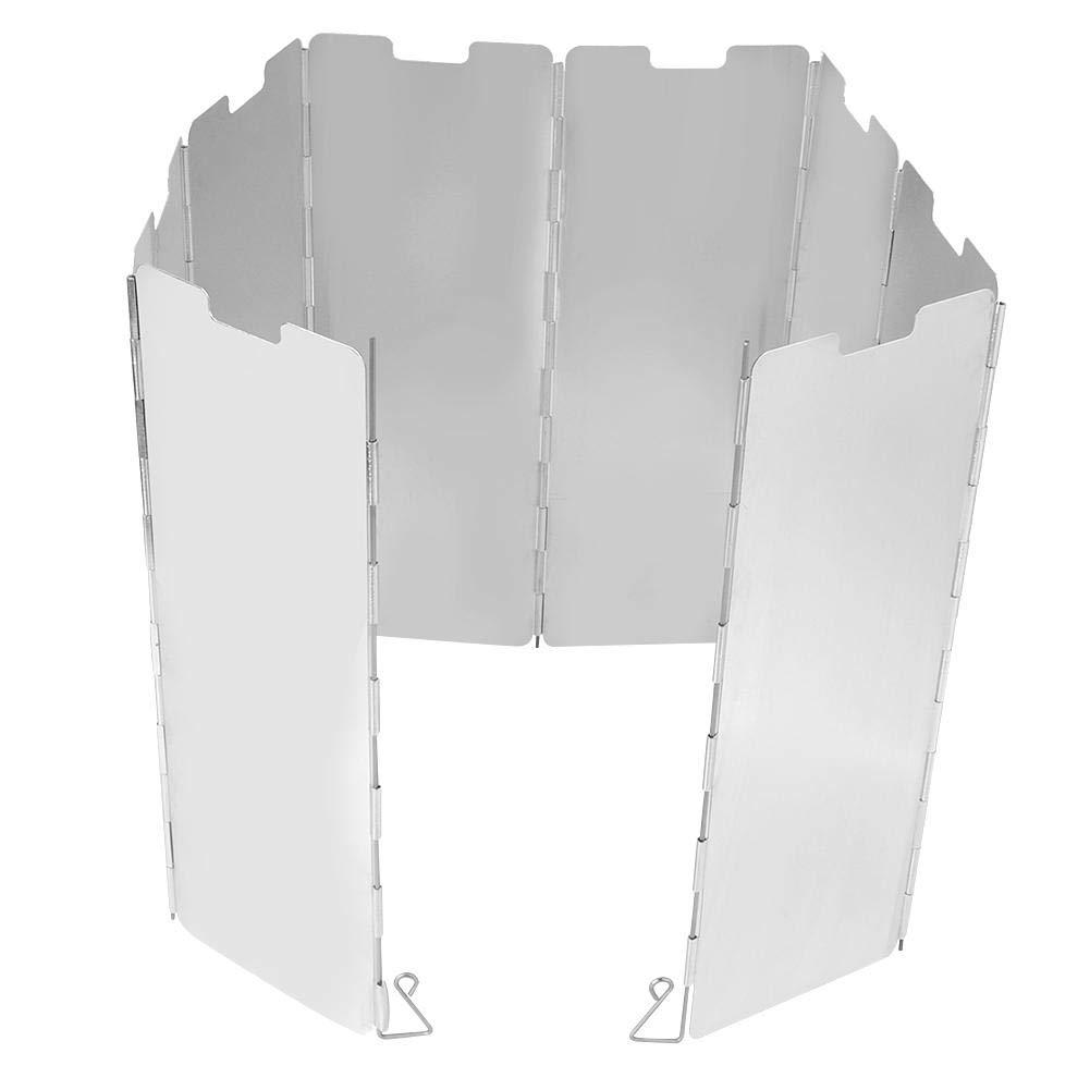HERCHR 8 Placas Estufa de Gas Pantalla de protecci/ón contra el Viento Pantalla Plegable Ligero Port/átil para Acampar al Aire Libre Picnic Cooker BBQ Aluminio-Plata