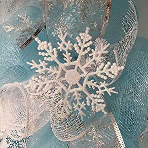Frozen Winter Deco Mesh Wreath With Snowballs 2